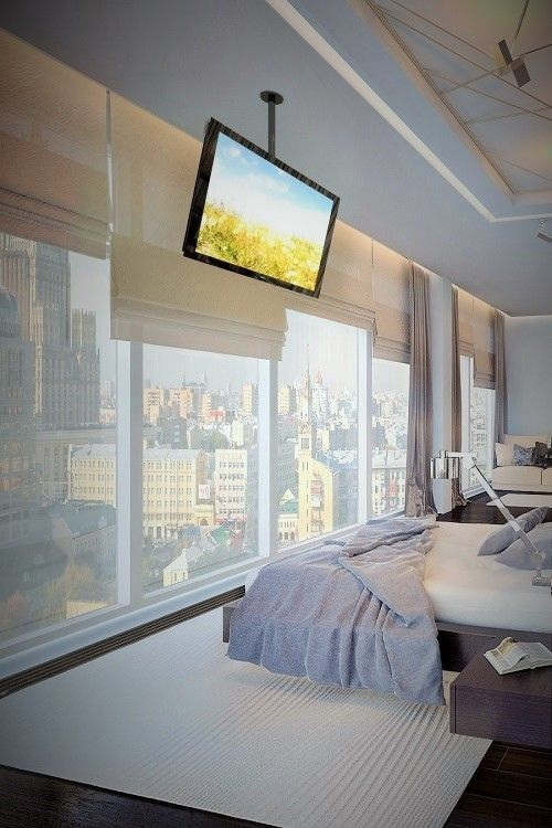 tv aan slaapkamer plafond