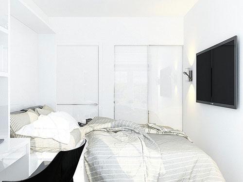 tv kleine slaapkamer muur