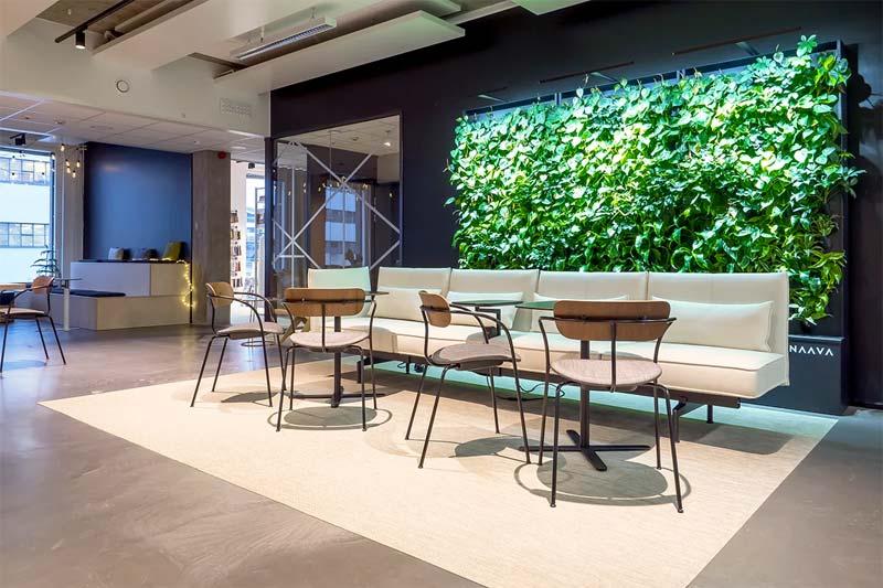 In dit moderne kantoor zijn meerdere verticale tuinen van Naava naast elkaar geplaatst.