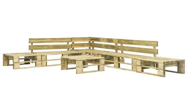 vidaxl houten paletten tuinset