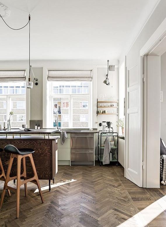 Vintage, rustieke Scandinavische keuken