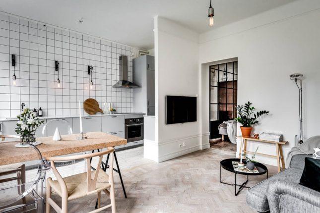 visgraat vloer kleine houten planken woonkamer