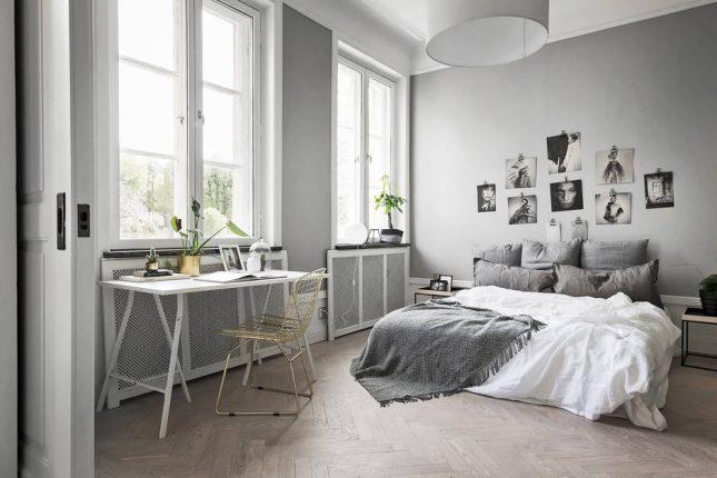 visgraat vloer scandinavische slaapkamer