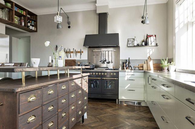 visgraat vloer vintage keuken