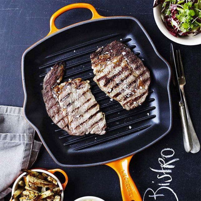 vlees grillen grillpan