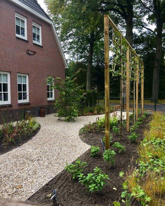 voortuin ontwerp organische plantenborders