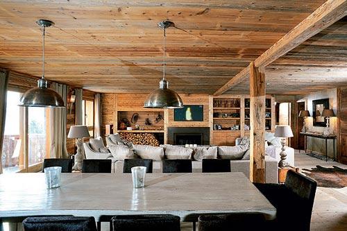 Warme gezellige woonkamer van chalet interieur inrichting for Gezellige woonkamer