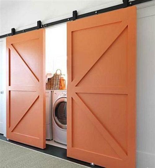 Wasmachine in keuken interieur inrichting - Moderne wasruimte ...