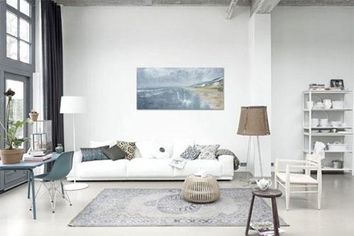 Witte gietvloer in woonkamer