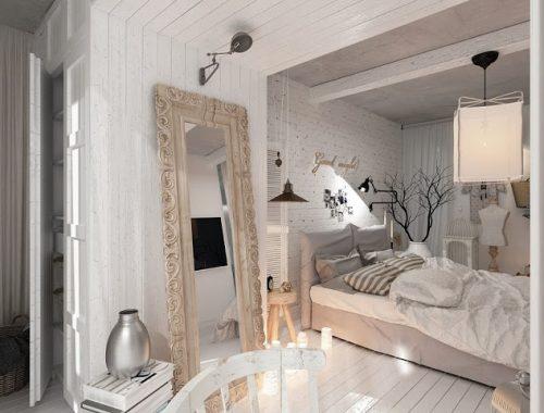 Witte intieme slaapkamer