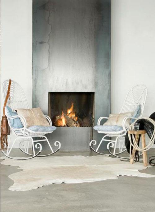 Witte schommelstoel HKliving