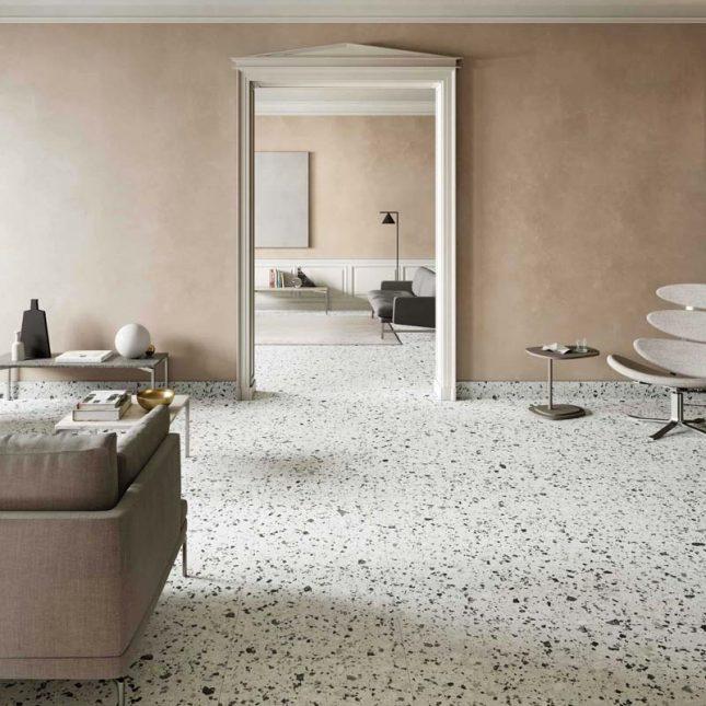 witte terrazzo vloer zwarte spikkels