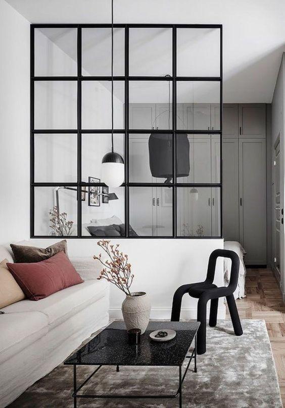woonkamer ideeën glazen scheidingswand zwarte kozijnen