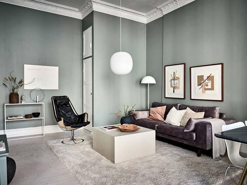 woonkamer ideeën groene muur