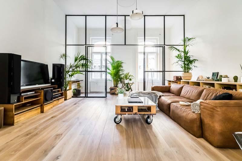 woonkamer ideeën grote glazen wand werkplek