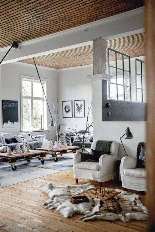 woonkamer ideeën houten plafond