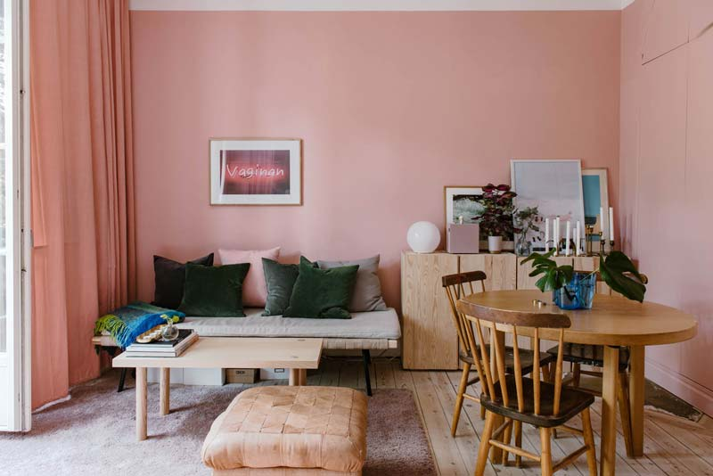 woonkamer ideeën roze