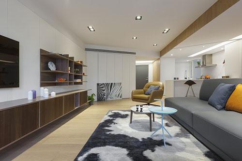 woonkamer inrichting met schuine muren interieur inrichting