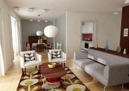 Paars Woonkamer Interieur: Paars woonkamer interieur.