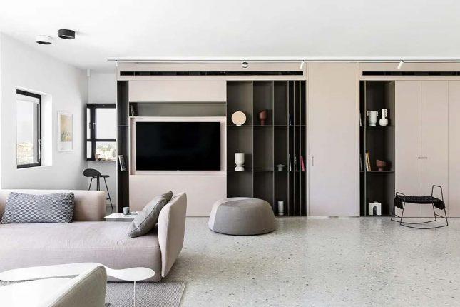 woonkamer oudroze kastenwand tv meubel