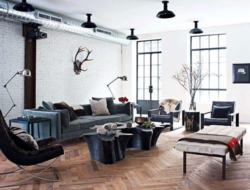 Woonkamer met stoere vintage en moderne elementen