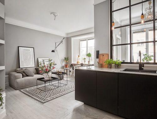 Scandinavische woonkamer met mooie meubels interieur inrichting - Een kleine rechthoekige woonkamer geven ...