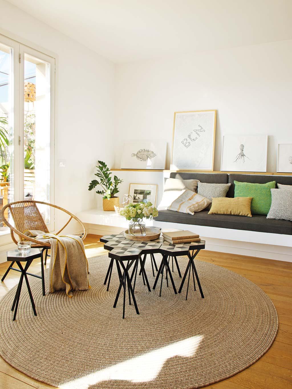 Zomerse woonkamer met keuken bar en eetkamer interieur inrichting - Eetkamer en woonkamer ...