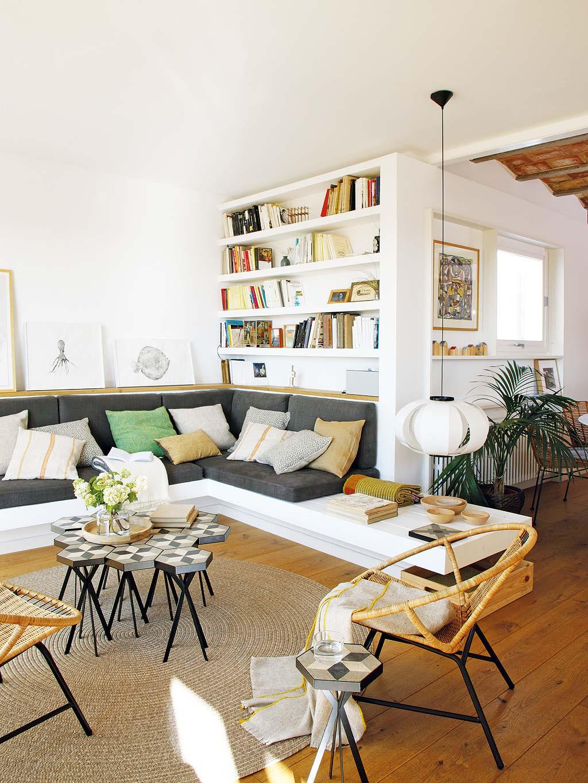 Zomerse woonkamer met keuken bar en eetkamer | Interieur inrichting