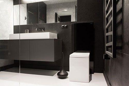 Zwarte witte designbadkamer uit Polen