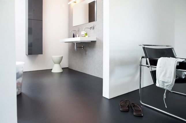 Zwarte vloer inspiratie interieur inrichting - Badkamer zwarte vloer ...