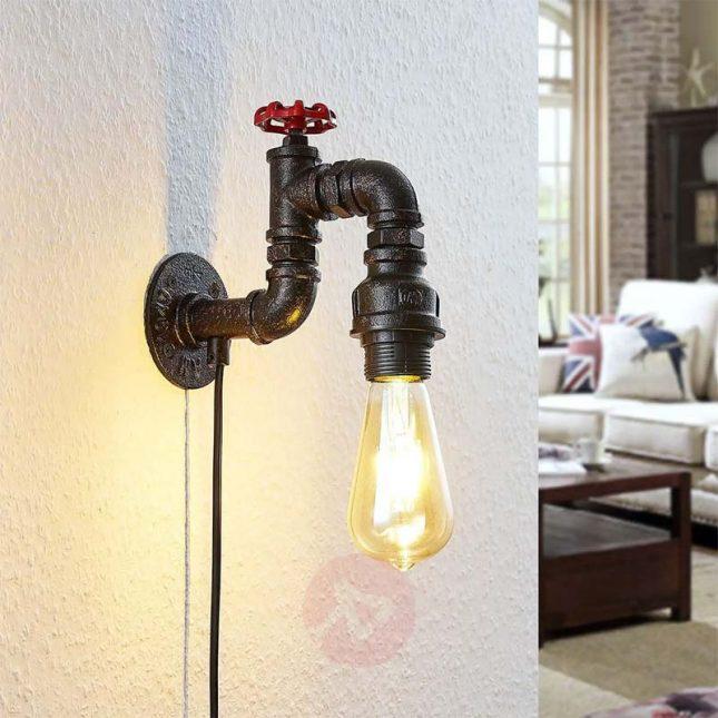 Zwarte industriële waterpijp wandlamp