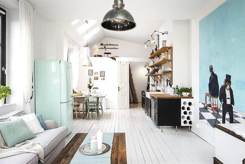 Zwarte open keuken in een klein wit appartement van 45m2 for Appartement 45m2 design